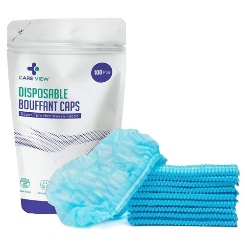 Careview CV-BFC Stretchable, Disposable Non-Woven Bouffant Caps/Surgical Caps/Cooking Caps (Blue, Pack of 100)