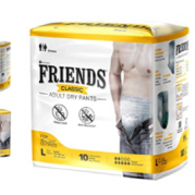 Friends Adult CLASSIC  Diapers  Pants - 10 Count (Large) Waist Size 30-56 inch (76-142cm)