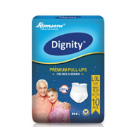 "Dignity Premium Pull Up Adult Diapers, Large-Extra Large, Waist Size 34"" - 59"", 10"