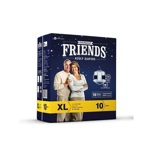 "Friends Overnight Adult Diaper 10'S PACK -Extra Large (48"" - 68""inches)"