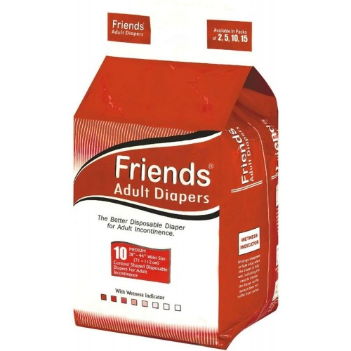 Friends Adult Diapers - Basic - Medium (28-44 Inches, 71.12 -111.76 cms)