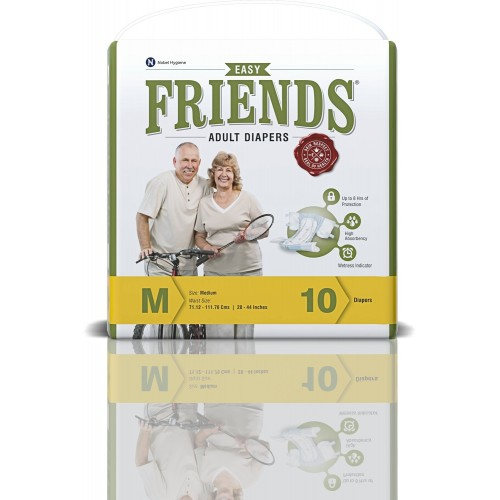 Friends Adult Diapers - Easy - Medium (28-44 Inches, 71.12 -111.76 cms)