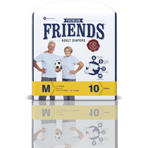 Friends Premium Adult Diapers - Medium (28-44 Inches, 71.12 -111.76 cms)