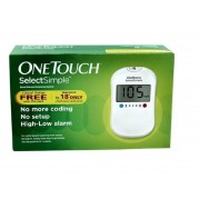 J&J One Touch Select Simple Glucometer (Vial of 10 Strips Free)